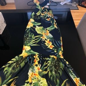Floral print small maxi fitted sexy dress